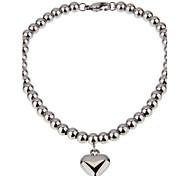 Women's Stainless Steel Heart-shaped Pendant Beaded Bracelet