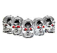 Valves de pneus de 5-pièces en argent en forme de crâne
