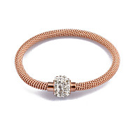 Gold/Silver/Rose Gold Stainless Steel Chain Twine Rhinestone Bangle