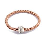 ouro / prata / rosa corrente de aço inoxidável pulseira de fio de strass ouro