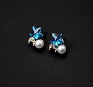 Rhinestone Moon Star Stud Earrings