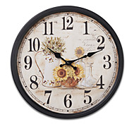 "14""H Retro Style Vintage Metal Wall Clock With Black Side"