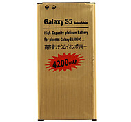 4200mAh Cell phone Battery Golden for Samsung Galaxy S5/i9600(2pcs) with Charger