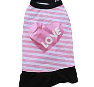 Cat / Dog Dress Pink Dog Clothes Summer Letter & Number / Hearts