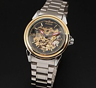 Men's Automatic Self-Wind Silver Steel Band Analog Wrist Watch