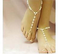 Elegante Mode Imitation Pearl White barfüßigsandelholze * 1pc