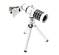 Universal Zoom 12X Telephoto Aluminum Cellphone Lens with Tripod