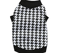 Cat / Dog Shirt / T-Shirt Black Dog Clothes Winter Houndstooth