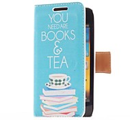 Book and Tea Style Leather Case with Card Slot and Stand for Samsung Galaxy S Advance i9070