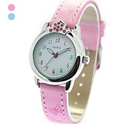 Children's Fashion Crystal Crown Case PU Band Quartz Wrist Watch (Assorted Colors)