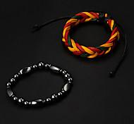 Cheap Multicolor Leather Bracelet+Black Stone Needle Hologram Bracelet(2pcs)