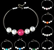 Woman's Pearl with Diamond Pattern Metallic Necklace (pink 、blue)(1pc)