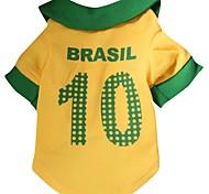 Nummer 10 brasil Muster terylene T-Shirt für Haustiere Hunde (gelb verschiedene Größen)