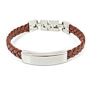 Fashion Titanium Steel Leather Bracelet Bangle Unisex and Adjustable
