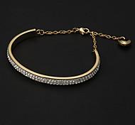 Fashion Half Chain With Heart Shape Decoration 6.5Cm Women'S Gold Alloy Bangle()(1 Pc)