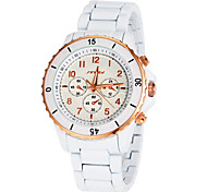 Men's Dress Style White Ceramic Band Quartz Wrist Watch (Assorted Colors)