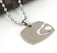 La forma del corazón de los hombres Hellow Out Collar colgante de acero inoxidable 316L