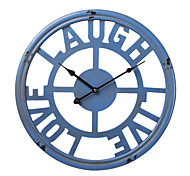 "18""H Retro Grid Blue Wood Wall Clock"
