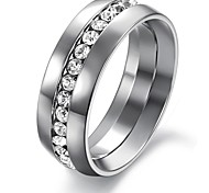 Fashion singolo diamante lucido liscio anello singolo acciaio di titanio degli uomini