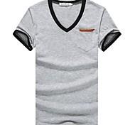 Men's Short Sleeve T-Shirt , Cotton Casual/Work/Sport Pure