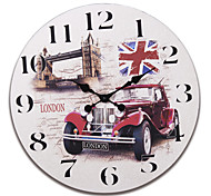 "23""H London Bridge Style Retro Wood Wall Clock"