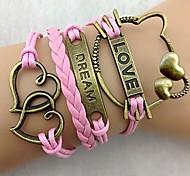 Women's Cute Combined Symbols Multideck LOVE Heart Braided Bracelet