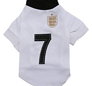 Nummer 7 Muster terylene T-Shirt für Haustiere Hunde (weißer verschiedenen Größen)