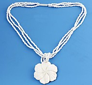 Women's Rose Pattern Shell Material Pendant Plastic Necklace 1pc