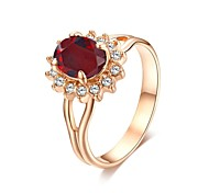 Gorgeous Red Crystal Jewelry 18K Rose Gold Plated Sapphire Sunflower Fashion Engagement Ring
