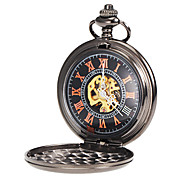 Men's Mechanical Simple Black Alloy Pocket Watch