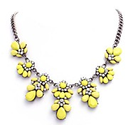 New Neon Fluorescence Color Yellow Flower Necklaces Europe America Lady Rhinestone Chain Short Bib Necklace
