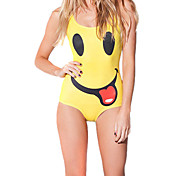 Cute Smiley Face Yellow Spandex Women's Swimsuit
