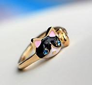 Diamond Personality Kittens Cat  Fashion Rings