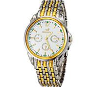 Oro Acero banda analógico de cuarzo reloj de pulsera de mujer (varios colores)