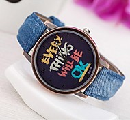 Femme Montre Tendance Montre Bracelet Quartz Polyuréthane Bande Montres avec Paroles Bleu Vert Jaune