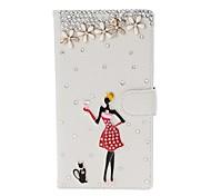DIY fille de beauté et de fleurs avec étui en cuir strass Motif de texture de litchi avec le stand pour Nokia Lumia 1520