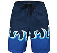 Men's Polyester Blue Fire Printing Surf Beach Short