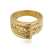 Exclusive 18KGP Rhinestone Men's Ring African Ring18K Golden Great Wall Mens Ring