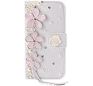 New Luxury Cherry Tassel Peral Rhinestone Leather Case with Stand for iPhone 5/5S