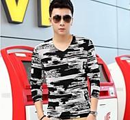 V Neck Moda Casual luva longa t-shirt dos homens do estilo coreano (ACC não incluídas)