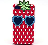 Patrón de fresa suave de la caja del silicón para el iPhone 5 / 5S