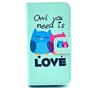 Lovely Owl Design PU Full Body Case with Card Slot for iPhone 4/4S