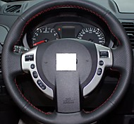 XuJi ™ Black Genuine Leather Steering Wheel Cover for Nissan QASHQAI X-Trail NV200 Rogue