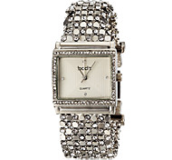 Women's Delicate Square Case Diamand Silver Steel Band Quartz Bracelet Watch (Assorted Colors)