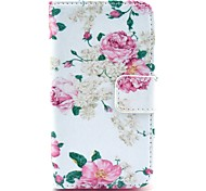 Beautiful Rose Flower Pattern PU Leather Case with Card Holder and Stand for Samsung Galaxy I8160