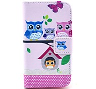 The Owl Family Pattern PU Leather Case with Card Holder and Stand for Samsung Galaxy I8160