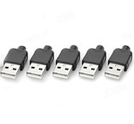 Type A 4pin USB Male Power Adapters / Connectors - Black + Silver (5 PCS)