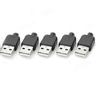 Typ A, 4-Pin-USB-Stecker Netzteile / Stecker - Schwarz + Silber (5 PCS)