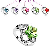Very Fine Delicate Drill Austrian Crystals Ms Plum Flower Ring
