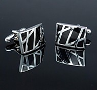 Fashionable Rectangle Black Silver Man Bar Checked Pattern Cufflink for Men (1pair)
